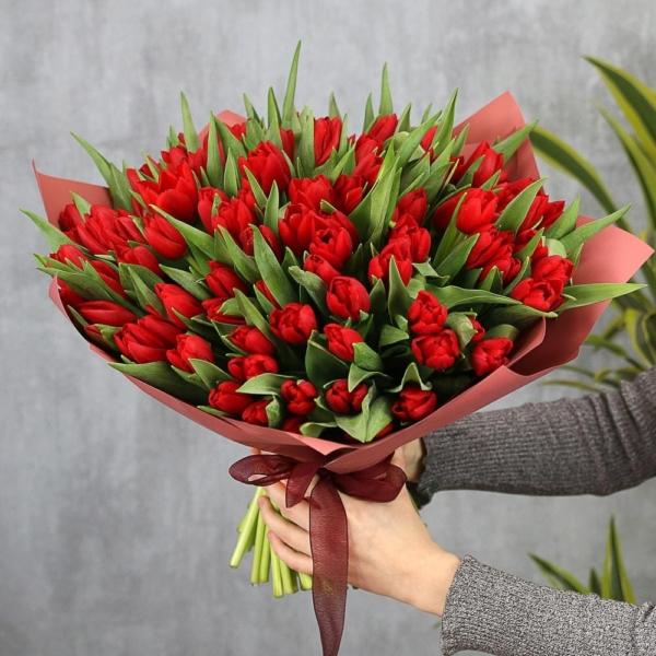 """Букет """"51 Красный Тюльпан"""""""